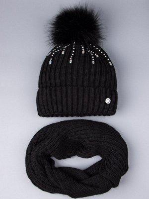 Шапка вязаная для девочки с помпоном, дождик из бусин и страз + снуд, черный