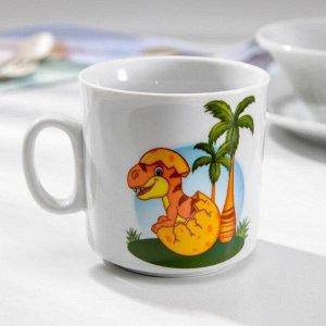 Набор посуды «Динозаврики», 3 предмета: кружка 200 мл, салатник 360 мл, тарелка мелкая d=17 см