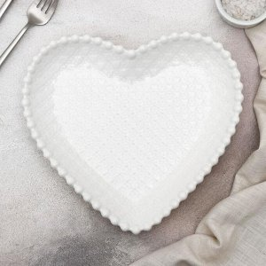 Тарелка «Сердце», 16?15?2 см, цвет белый