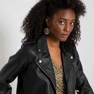 Куртка в байкерском стиле  - черный