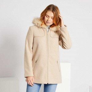 Пальто из материала под шерсть - оранжевый