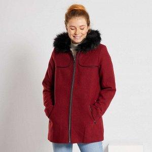 Пальто из материала под шерсть - красный