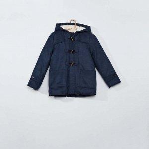 Длинное пальто-бушлат - синий