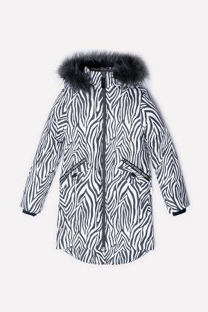 Пальто Цвет: темно-серый, зебра; Утеплитель: с утеплителем; Вид изделия: Изделия из мембраны; Рисунок: темно-серый, зебра; Сезон: Осень-Зима Зимнее стеганое пальто для девочки, на подкладке с утеплит