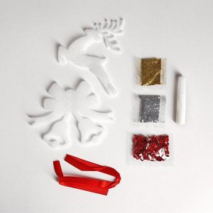 Набор для творчества. Волшебная игрушка «Олень и колокольчики» + клей, пайетки, блёстки