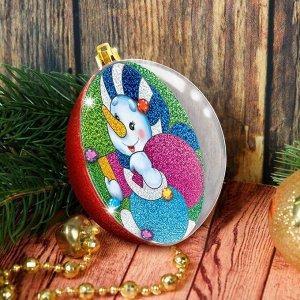 Новогодний шар - фреска «Снеговик с подарками»