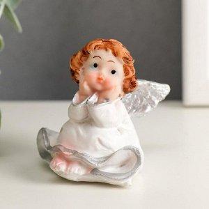 """Сувенир полистоун """"Маленький ангел в платье сидит"""" МИКС 6х5,3х4 см"""