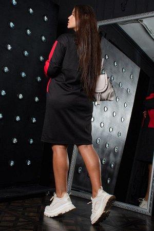 Платье Данный товар в одной расцветке ткань: милано  состав: 95% полиэстер, 5% эластан Спортивное платье прямого кроя из комбинированного трикотажного полотна милано. Центральная часть переда, вставки
