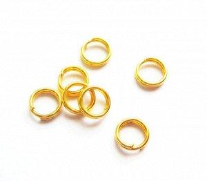 Кольца двойной крутки золотистое 4 х 0,6 мм. Цена за 20 шт.