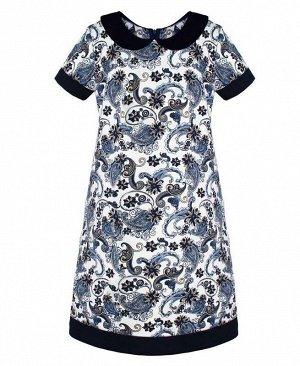 Платье с воротничком для девочки Цвет: молочный+синий