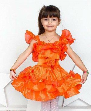 Персиковое нарядное платье для девочки Цвет: оранжевый