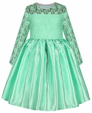 Нарядное ментоловое платье для девочки с гипюром Цвет: ментоловый