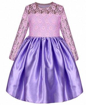 Сиреневое нарядное платье для девочки с гипюром Цвет: сиреневый