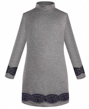 Серое платье для девочки с кружевом Цвет: серый