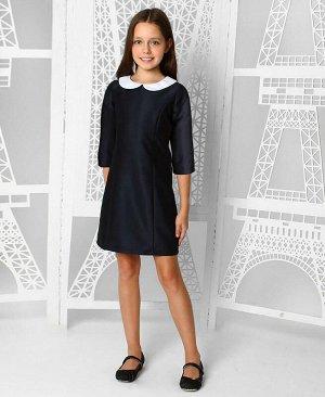 Школьное платье с воротником для девочки Цвет: тёмно-синий