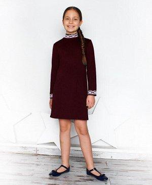 Бордовое школьное платье для девочки Цвет: бордо