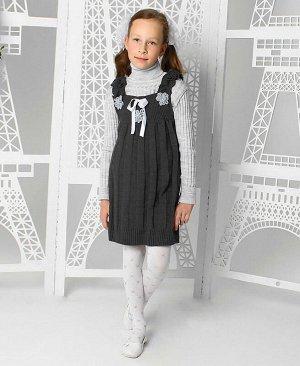 Вязанный комплект для девочек Цвет: темно-серый