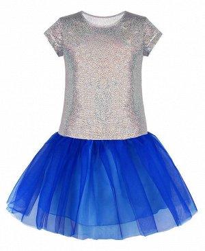 Нарядное серебряное платье для девочки Цвет: серебряный