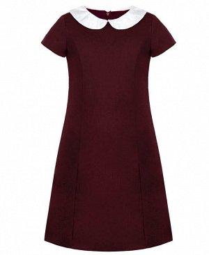 Школьное бордовое платье для девочки с белым воротником Цвет: Бордовый