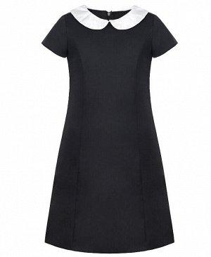 Серое школьное платье для девочки с белым воротником Цвет: серый