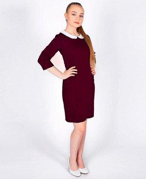 Бордовое школьное платье для девочки с воротником Цвет: Бордовый