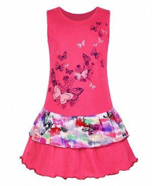 Малиновый сарафан для девочки Цвет: малина+ микс