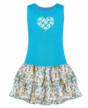 Бирюзовый сарафан для девочки Цвет: бирюзовый