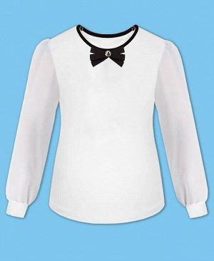 Школьный джемпер (блузка) для девочки с шифоновыми рукавами Цвет: белый