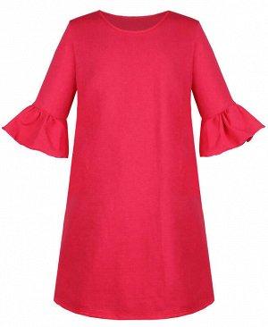 Коралловое платье для девочки с воланами Цвет: коралловый