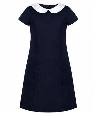 Школьное синее платье для девочки с белым вороником Цвет: синий
