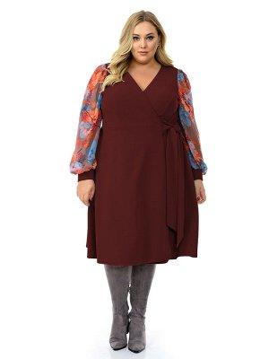 Платье с запАхом бордовое,  рукава из яркого шифона