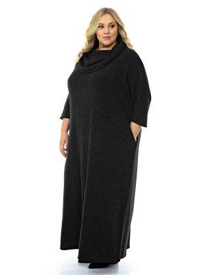 """Платье длинное из ангоры, с """"хомутом"""", черное"""