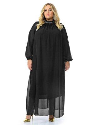 Платье вечернее с воротником стойка, шифон черный