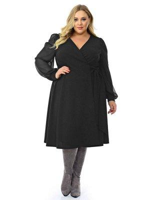 Платье с запАхом черное с шифоновыми рукавами.