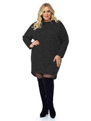 Платье - туника, джерси меланж темно-серый