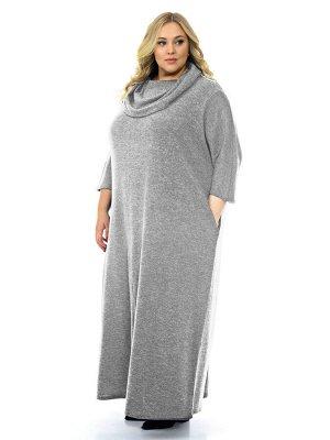 """Платье длинное с """"хомутом"""", джерси меланж светло-серый"""
