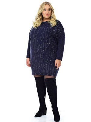 Платье - туника, ангора темно-синяя