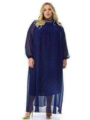 Платье вечернее с воротником стойка, шифон темно-синий