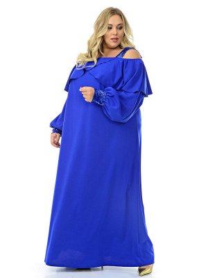 Платье длинное с воланом по горловине, васильковое