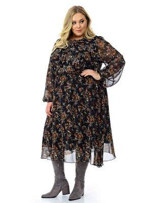 Платье из шифона с мягкими защипами по горловине, принт красивый черный