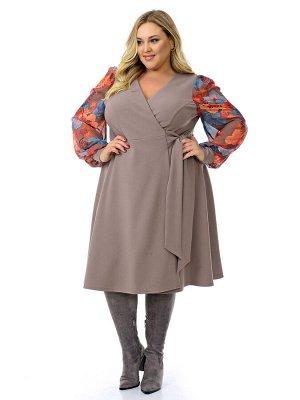 Платье с запАхом кофейное,  рукава из яркого шифона