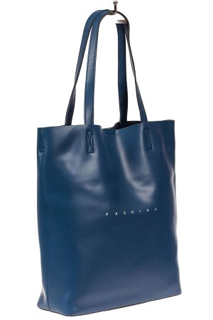 Кожаная сумка шоппер, цвет синий