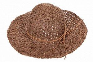 Летняя ажурная шляпка шоколадного цвета со шнурком-бантом