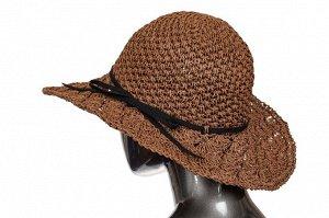 Ажурная летняя шляпка шоколадного цвета с чёрным бантом