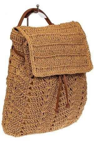 Сумка-рюкзак плетеная из джута, цвет песочный