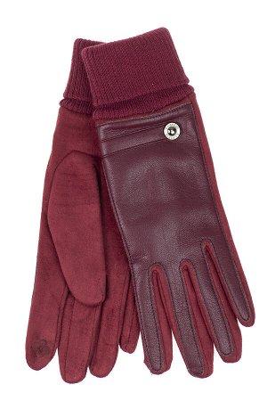 Кожаные женские перчатки на флисе, цвет бордо