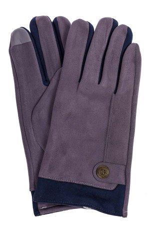 Перчатки мужские из велюра, цвет серо-синий