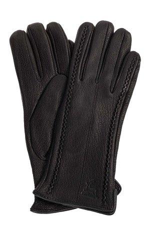 Чёрные женские перчатки из натуральной кожи оленя