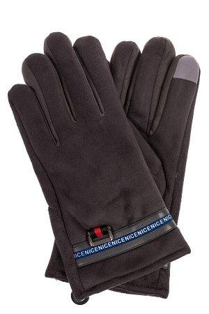 Утепленные перчатки мужские из велюра, цвет графит