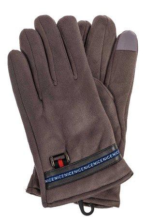 Утепленные перчатки мужские из велюра серого цвета